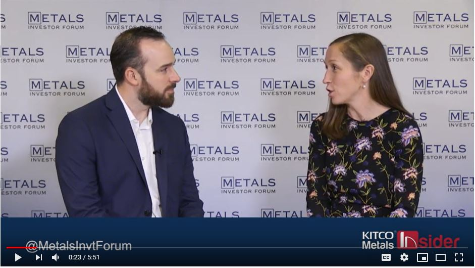 Gwen Preston and Thomas Mumford, VP Exploration sit backstage at the Metals Investor Forum November 15, 2019
