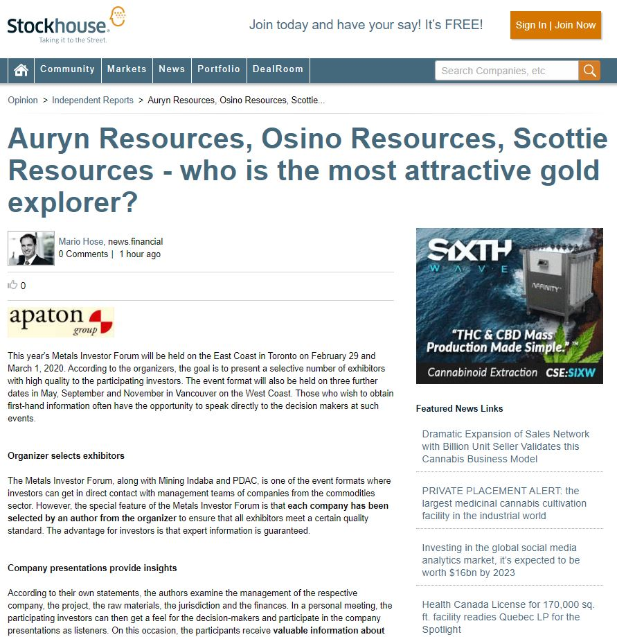 Auryn Resources, Osino Resources, Scottie Resources - who is the most attractive gold explorer?