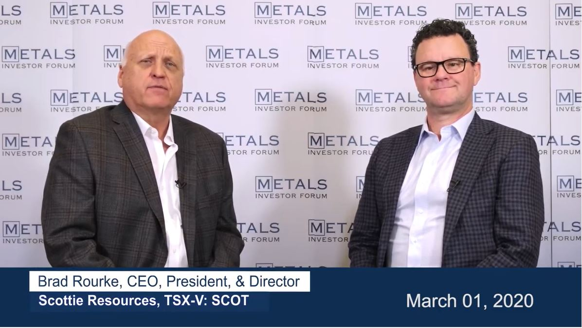 Greg McCoach talks to Brad Rourke of Scottie Resources at Metals Investor Forum in Toronto